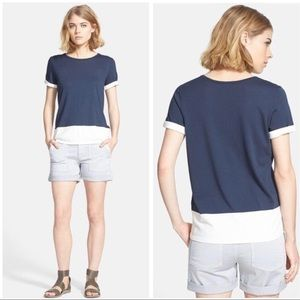 Vince colorblock rolled cuff tee